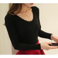 肉色打底衫大领保暖内衣女上衣单件紧身棉毛衫长袖塑身衣内穿 黑色 18313薄花边 均码