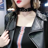 韩版黑色短款脖颈锁骨链脖子饰品项链女简约森系学生颈带项圈颈链