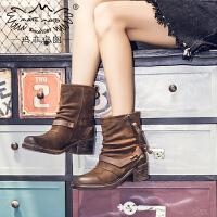 玛菲玛图帅酷马丁靴女秋冬2018新款皮带扣机车女靴高跟真皮短靴女X3B-3