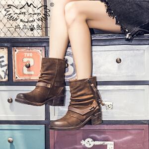 玛菲玛图帅酷马丁靴女秋冬2019新款皮带扣机车女靴高跟真皮短靴女X3B-3W