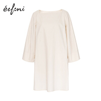 【商场同款】伊芙丽夏装新款韩版宽松纯棉长款气质连衣裙女