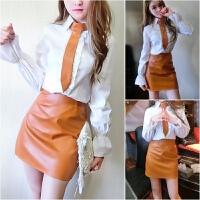 欧美风女装秋季气质OL套装领带喇叭袖打底衬衫+高腰PU皮裙两件套