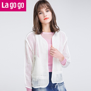 Lagogo春秋新款白色镂空薄外套女舒适百搭空调开衫披肩上衣短款