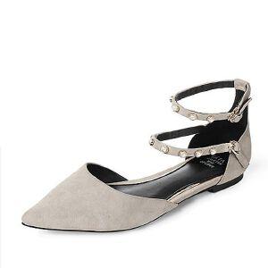 Tata/他她2017年秋季羊皮脚环珍珠复古尖头玛丽珍鞋女凉鞋FHP01CK7