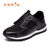 红蜻蜓男鞋2018年新款时尚运动休闲鞋韩版潮流网布单鞋系带学生鞋