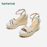 女士坡跟凉鞋一字扣带高跟凉鞋H55W9202