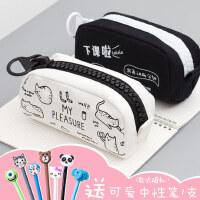 咔巴熊学生笔袋创意可爱女生韩版简约帆布大容量铅笔袋拉链文具袋