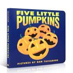 英文原版 Five Little Pumpkins 五个小南瓜 万圣节歌曲 儿童英语启蒙亲子儿歌童谣纸板书撕不烂趣味故