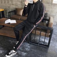 新品男士运动套装跑步装春秋季休闲翻领卫衣条纹两件套2018套头翻