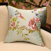现代中式古典抱枕沙发靠垫花鸟刺绣抱枕套含芯腰枕床头靠包大靠背