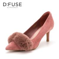 迪芙斯(D:FUSE)秋季绒面羊皮革细跟尖头时尚单鞋 DF83111698