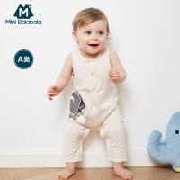 迷你巴拉巴拉男女童连体衣2018夏装婴幼儿宝宝卡通贴补短袖爬爬服