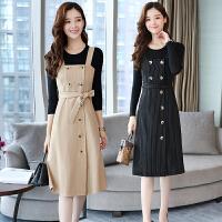 秋装连衣裙女气质春秋冬季新款韩版收腰显瘦条纹背带裙子黑