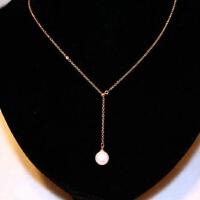 彩金时尚一粒天然珍珠项链简约气质锁骨链短款吊坠女欧美流行