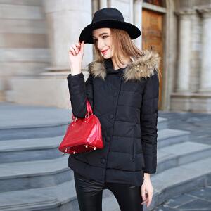 雅鹿冬季专柜正品韩版甜美貉子毛领女宽松中长款羽绒服YQ1101750