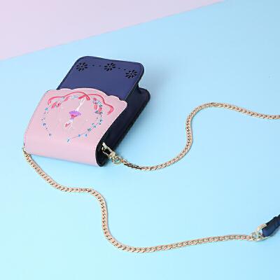 沐鱼手机包女 新款单肩斜挎包韩版潮迷你小包刺绣链条包包