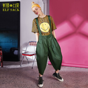 【低至1折起】妖精的口袋春秋装新款宽松廓形纯棉背带休闲九分裤女