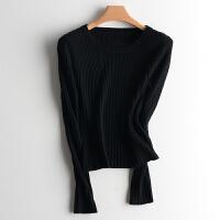 秋冬季圆领羊绒衫紧身弹力毛衣羊毛衫女士低领修身针织打底衫 X