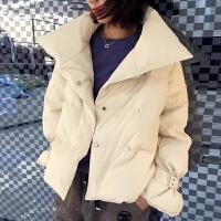 冬款轻薄羽绒服女欧货立领小个子双排扣白鸭绒短款羽绒服