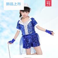 儿童舞蹈服装六一新款亮片蓬蓬裙女童爵士舞演出服男童街舞表演服