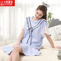 红豆居家女士睡衣春夏纯棉短袖裙085 灰蓝