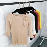 秋装新款百搭一字领纯色七分袖上衣打底衫蝴蝶结套头紧身针织女装