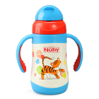 Nuby努比儿童宝宝保温吸管水杯 不锈钢真空弹跳保温训练杯 带把手
