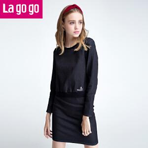Lagogo秋季新款牛仔T恤套头长袖上衣女韩版学生显瘦百搭秋装