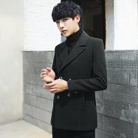 秋冬季新款韩版男士短款呢大衣加厚羊毛呢子外套帅气修身风衣