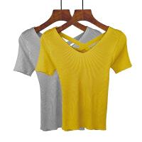 2018春夏季后背交叉v领短袖T恤女短款修身套头针织打底衫上衣女装