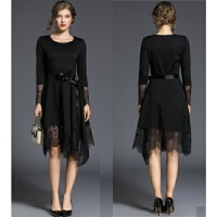 秋装新款女蕾丝打底长袖连衣裙秋冬季气质淑女性感赫本小黑裙