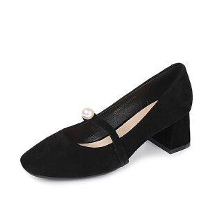 Tata/他她2017年夏季羊皮精致珍珠一字带复古玛丽珍女鞋ZB963BQ7