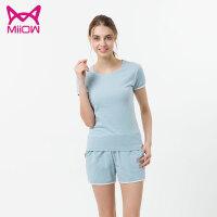 MiiOW/猫人新款睡衣女夏季短袖短裤韩版休闲夏天家居服套装