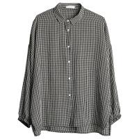 小格子衬衫女夏季长袖韩国学生宽松薄款小清新防晒衬衣 均码