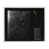 笔记本文具 商务 移动电源 办公 记事会议本 创意 礼品 礼盒套装 活页本 定制 多孔本黑色A5+送袋子