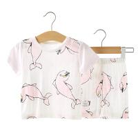 夏季宝宝短袖套装 婴儿小孩内衣男女童短袖短裤套装透气 薄