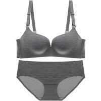 新款无痕无钢圈薄款女士内衣文胸套装性感聚拢舒适胸罩 黑色 文胸+内裤