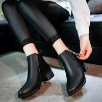 彼艾2017秋冬新款短靴女单靴 粗跟马丁靴英伦尖头女靴冬靴 中跟切尔西靴潮女靴子