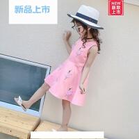 女童连衣裙夏2018新款粉色韩版中大童时尚背心裙女童花仙子公主裙