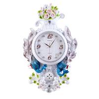欧式挂钟客厅孔雀静音大号钟表复古田园创意卧室装饰时钟壁挂表 20英寸(直径50.5厘米)