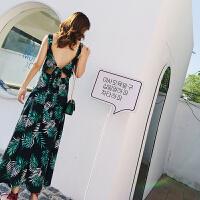 度假海边沙滩裙性感露背吊带裙绿色波西米亚长裙女夏泰国连衣裙 绿色
