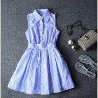 春夏女装条纹衬衫裙A字无袖雪纺连衣裙修身显瘦中长款打底裙子女 蓝色
