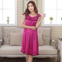 睡衣女士性感睡裙加大码夏季吊带长裙胖mm200斤冰丝长款短袖夏天 紫红色 839