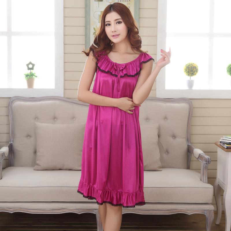 睡衣女士性感睡裙加大码夏季吊带长裙胖mm200斤冰丝长款短袖夏天 紫红色 839 发货周期:一般在付款后2-90天左右发货,具体发货时间请以与客服协商的时间为准