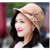 花朵羊毛礼帽秋冬时尚可爱  女士潮帽子
