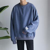 新款韩版学生套头日系纯色潮外套糖果色上衣港风秋季男士圆领卫衣