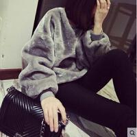 慈姑加绒冬季卫衣女宽松圆领套头长袖毛绒绒上衣休闲百搭绒衫可爱外套