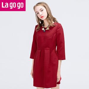 lagogo冬新品格子条纹七分袖修身连衣裙女复古收腰气质高腰裙子