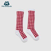 迷你巴拉巴拉男女婴儿袜子儿童中筒袜格子袜透气吸汗春季新款三色可选