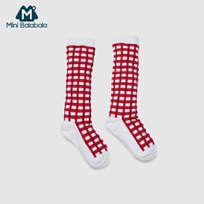 【限时2件3折价:12】迷你巴拉巴拉男女婴儿袜子儿童中筒袜格子袜透气吸汗春季新款三色可选